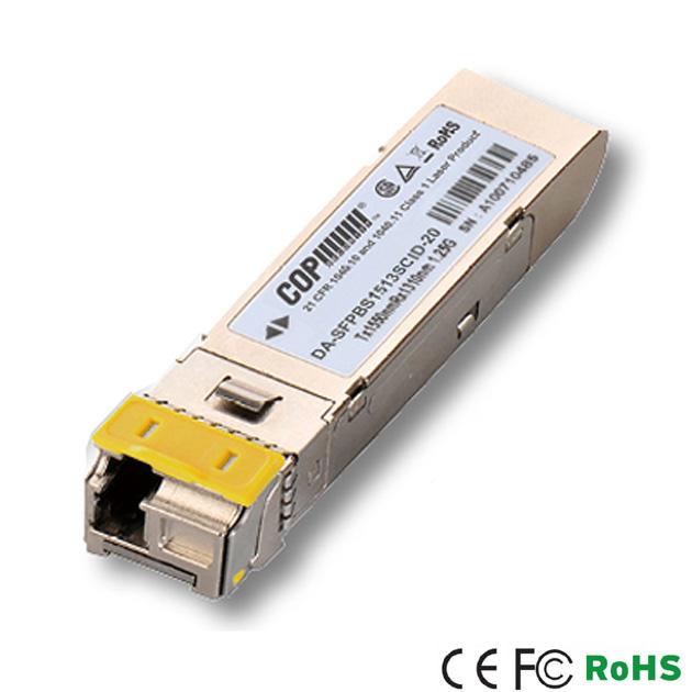 1.25G Single-Mode T1550/R1310 20km Industrial Grade SFP Module 1