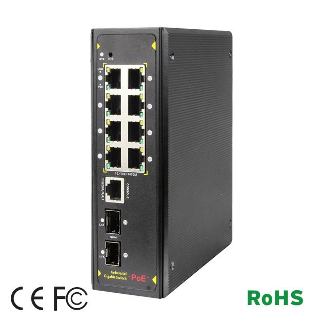 8 Ports GE PoE / 2 Gigabit SFP Industrial Switch 1